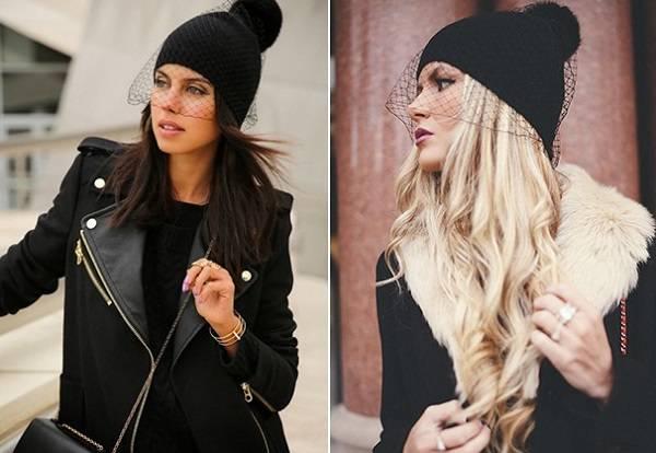 шапка с вуалью для пальто