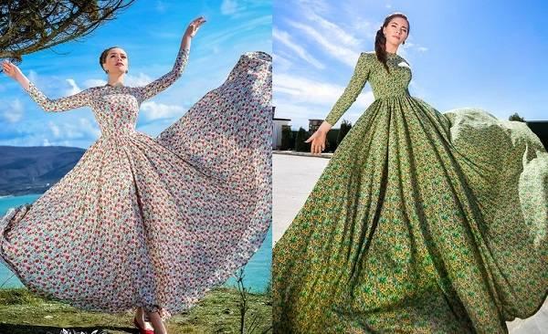 цветной штапель платье