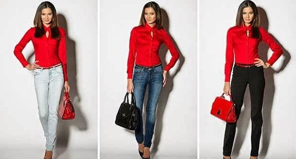 красная блуза с джинсами