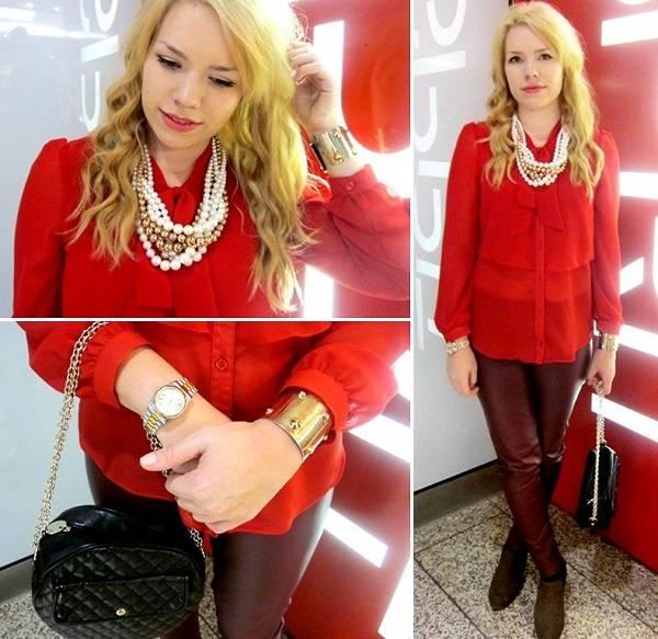 нарядная красная блуза