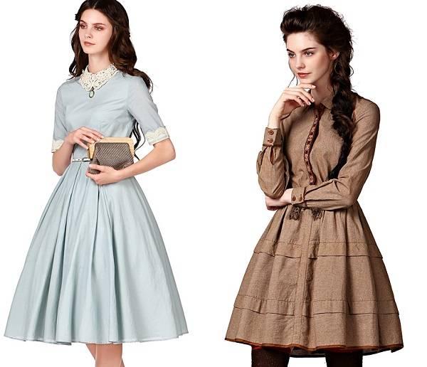 платье с воротником с расклешенной юбкой